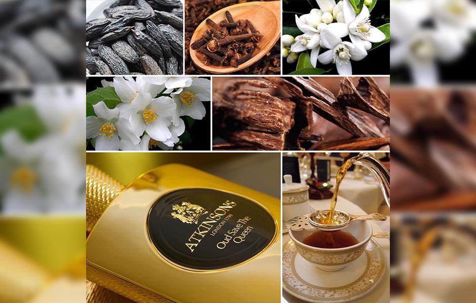 عود سیو د کویین Oud save the Queen با چای ارل گری، میخک و ترنج آغاز می شود.