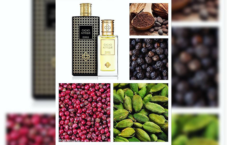 زمانی که عطر کاکائو آزتک (Cacao Azteque) را اسپری می کنید، ترکیبی از روایح جذاب و ادویه ای هل، فلفل صورتی و فلفل سیاه به مشام شما برخورد می کند.