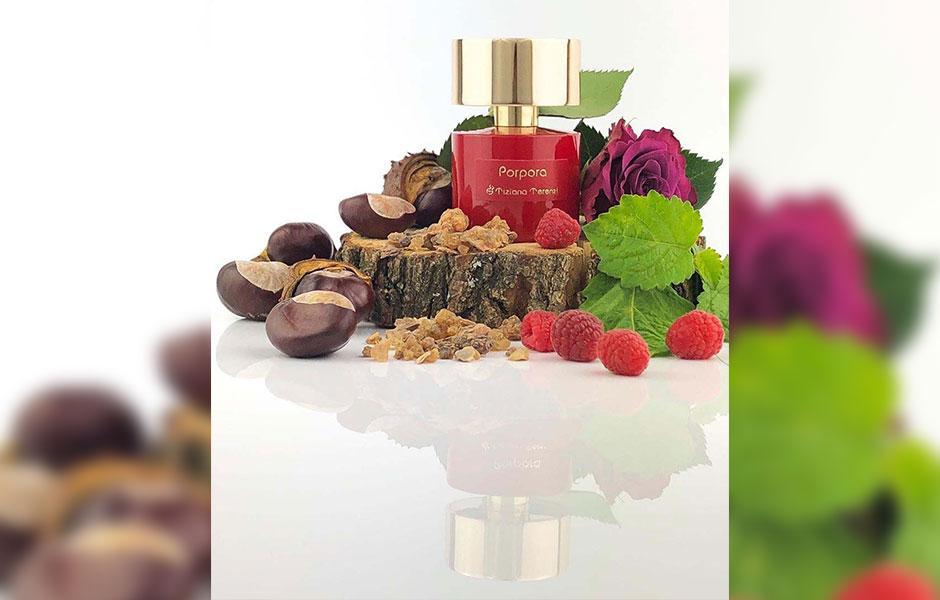 نت پایانی عطر پورپورا (Tiziana Terenzi Porpora)از عنبر، مشک، بنزوئین، بلوط، صمغ درختچه مر تشکیل شده است.